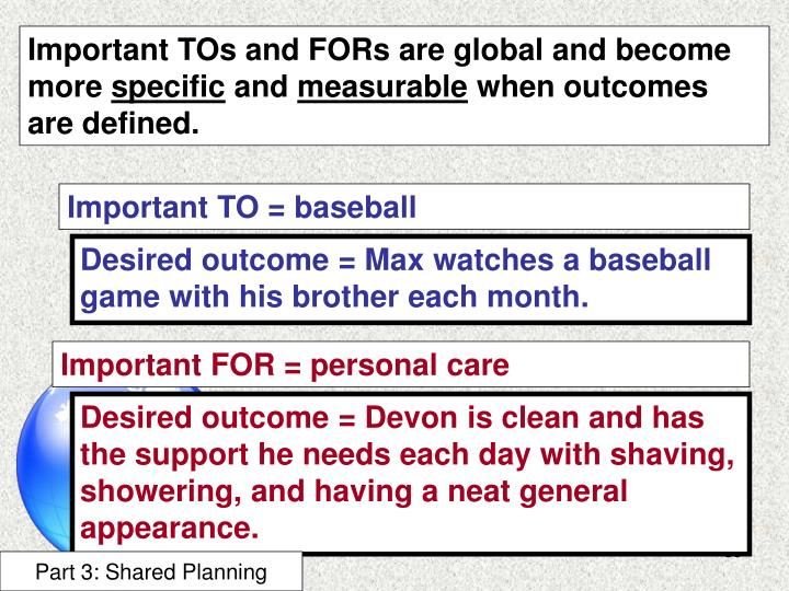 Important TOs and FORs are global and become more