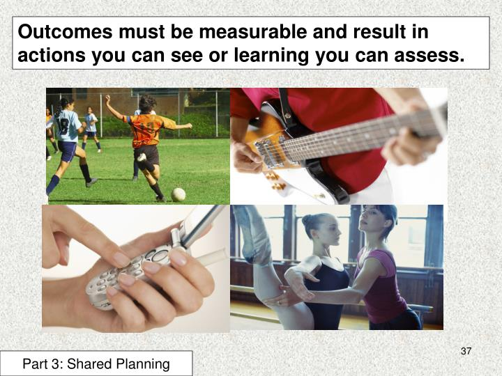 Outcomes must be measurable and result in actions you can see or learning you can assess.
