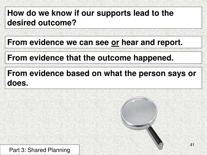 How do we know if our supports lead to the desired outcome?