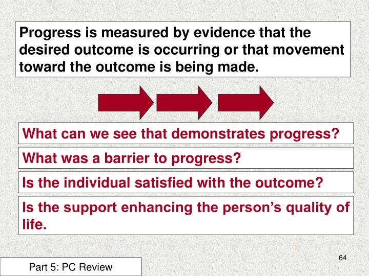 Progress is measured by evidence that the desired outcome is occurring or that movement toward the outcome is being made.