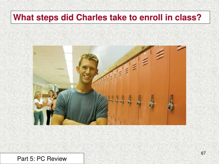 What steps did Charles take to enroll in class?