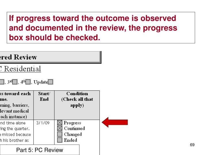 If progress toward the outcome is observed and documented in the review, the progress box should be checked.
