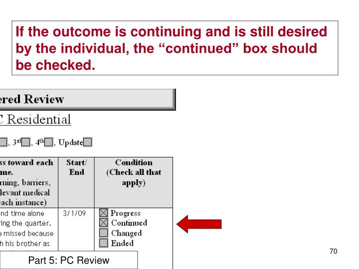 "If the outcome is continuing and is still desired by the individual, the ""continued"" box should be checked."