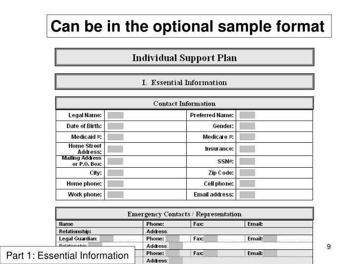 Can be in the optional sample format