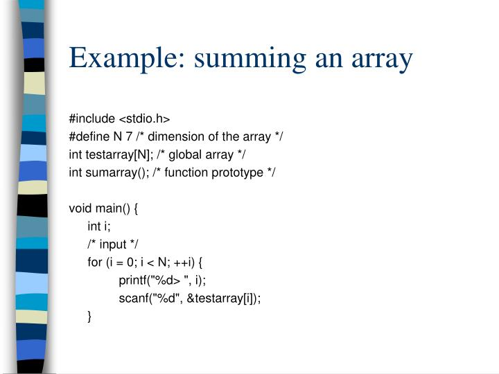 Example: summing an array