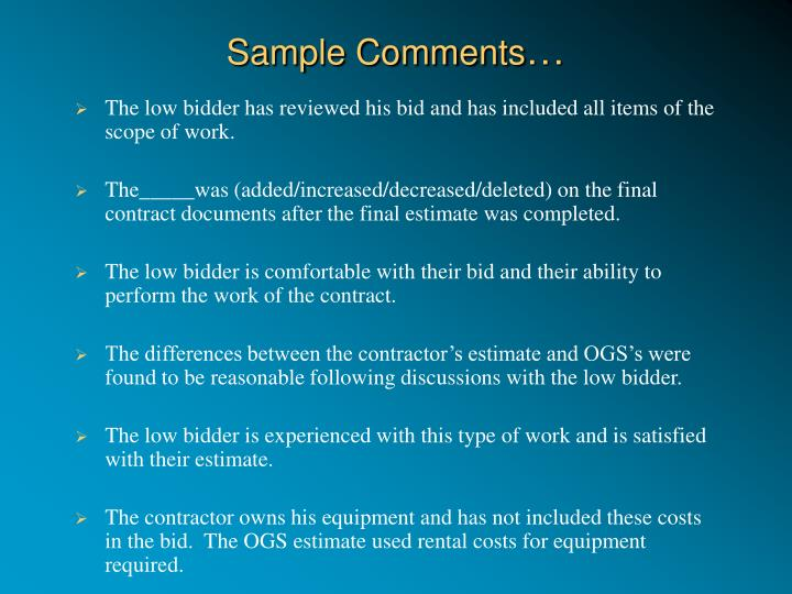 Sample Comments