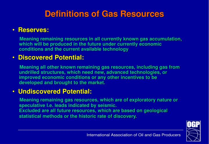 Definitions of Gas Resources