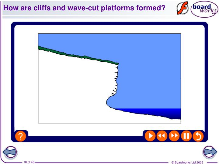 How are cliffs and wave-cut platforms formed?