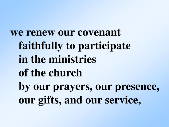 we renew our covenant