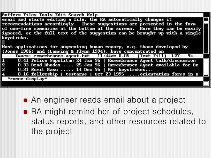 An engineer reads email about a project