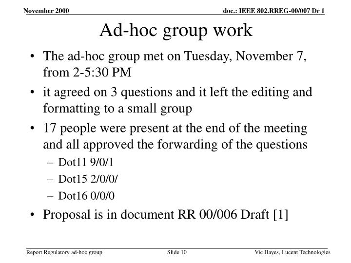 Ad-hoc group work