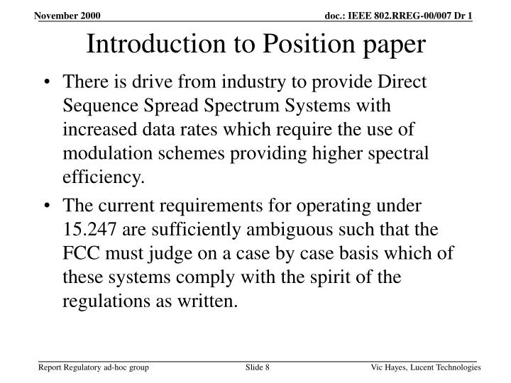 Introduction to Position paper