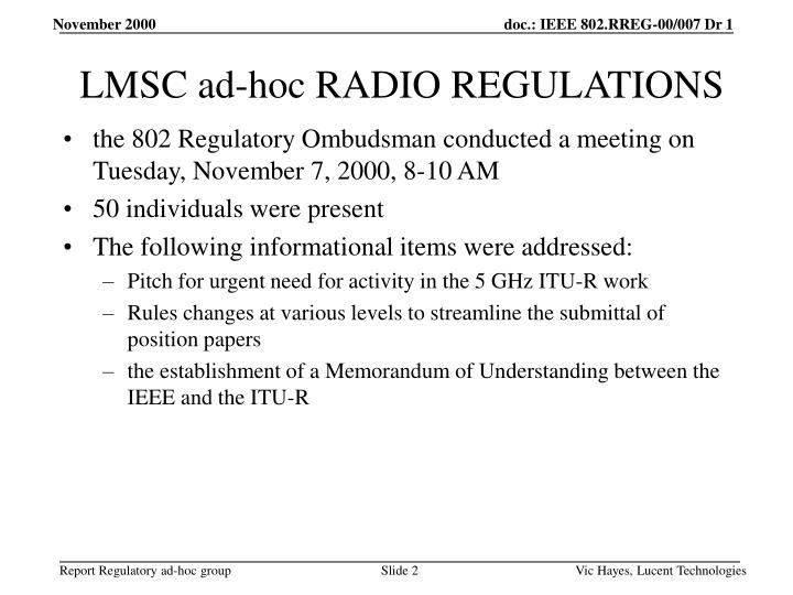 Lmsc ad hoc radio regulations