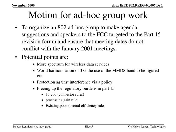 Motion for ad-hoc group work