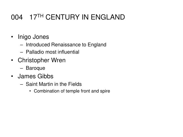 004 17 th century in england