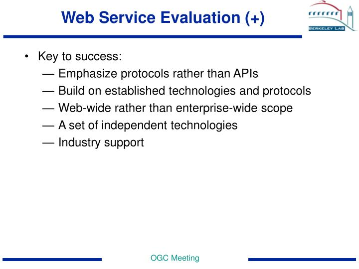 Web Service Evaluation (+)