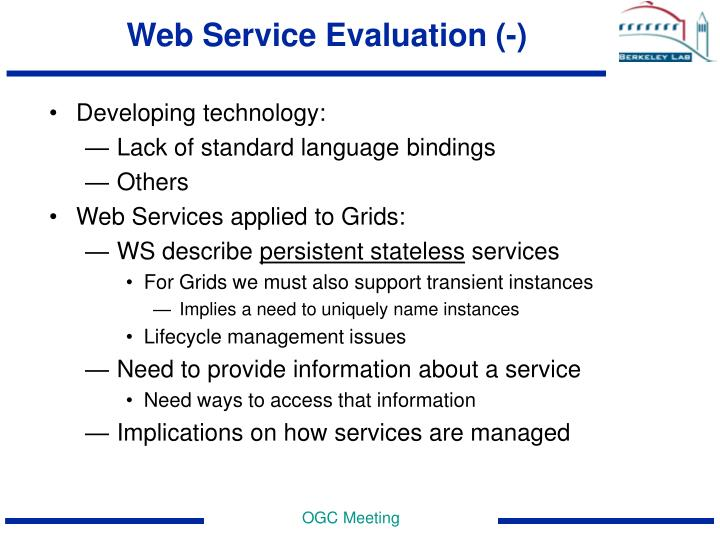 Web Service Evaluation (-)