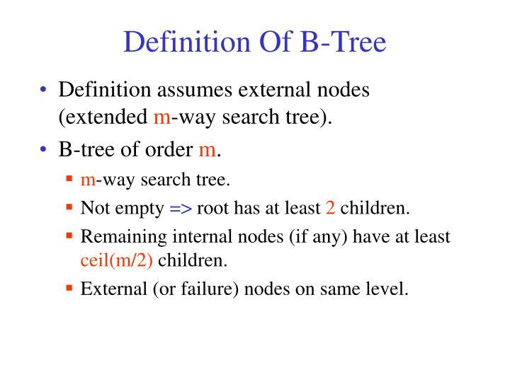 Definition Of B-Tree