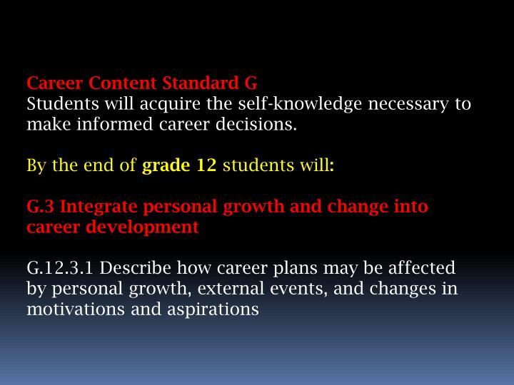 Career Content Standard G