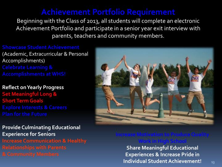 Achievement Portfolio Requirement