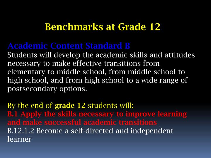 Benchmarks at Grade 12