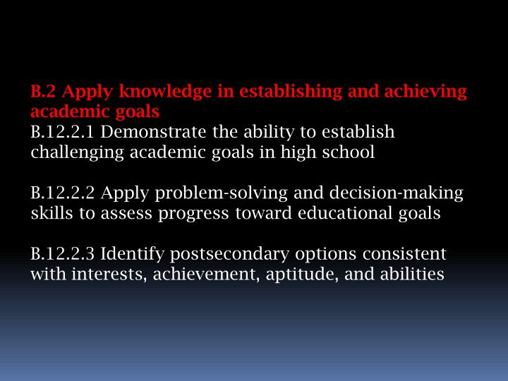 B.2 Apply knowledge in establishing and achieving academic goals