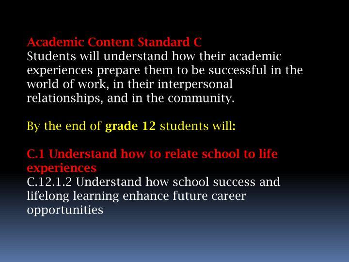 Academic Content Standard C
