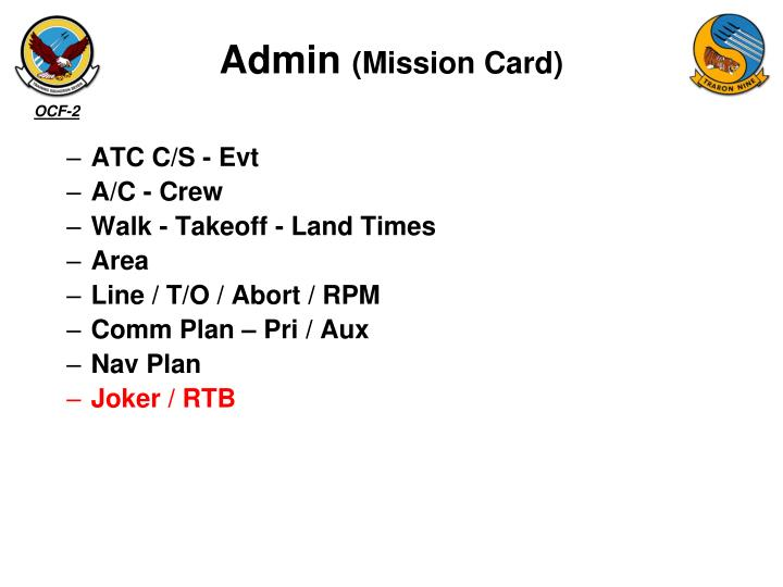 Admin mission card
