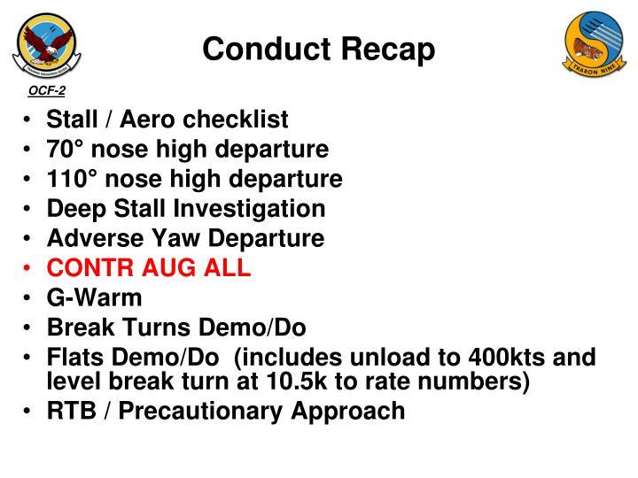 Conduct Recap
