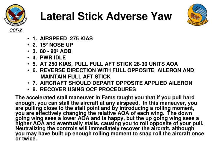 Lateral Stick Adverse Yaw