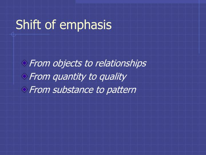 Shift of emphasis