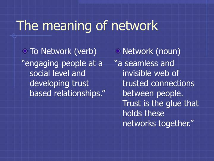 To Network (verb)