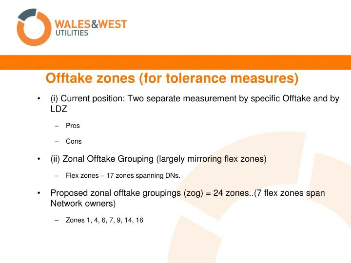 Offtake zones (for tolerance measures)