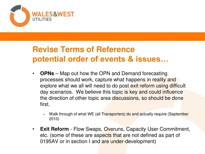 Revise terms of reference potential order of events issues