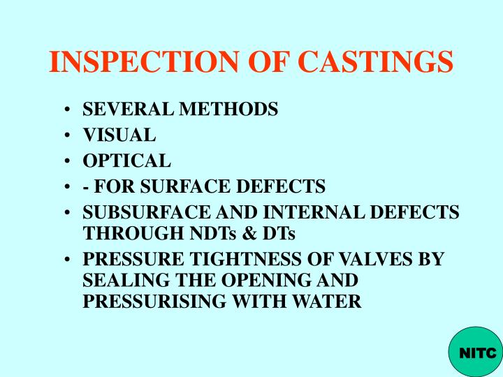 INSPECTION OF CASTINGS