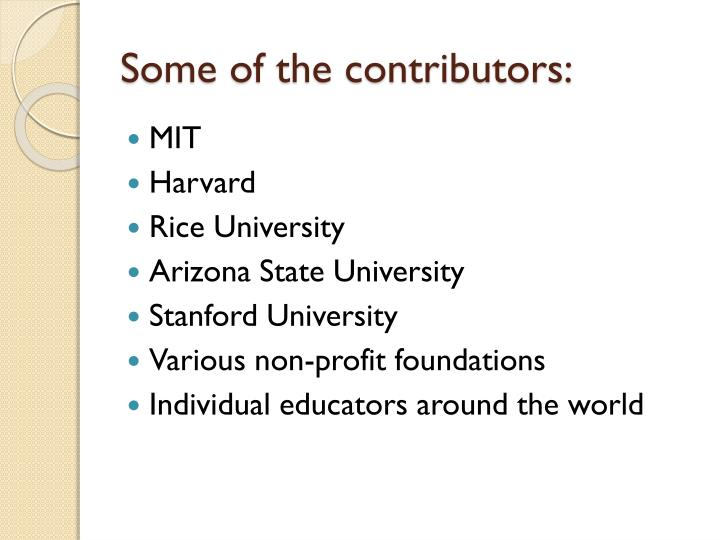 Some of the contributors: