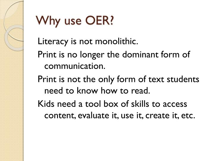 Why use oer