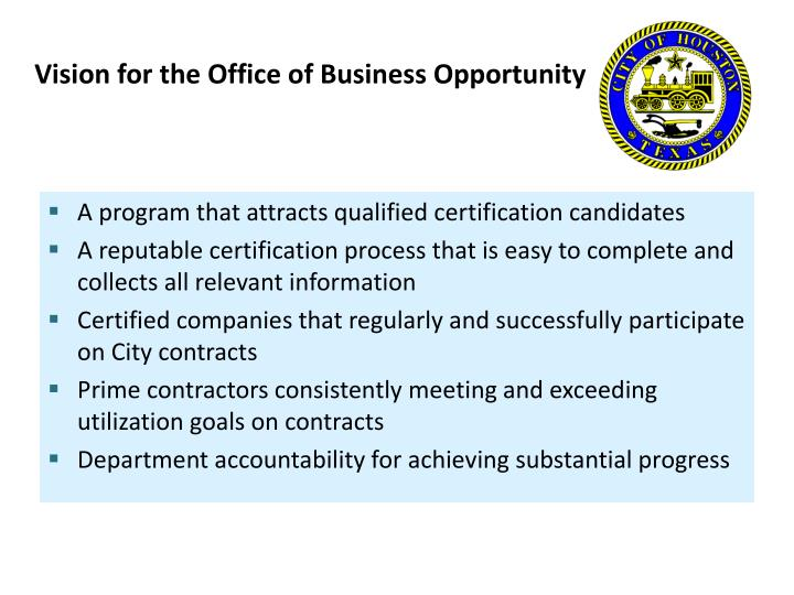 Vision for the office of business opportunity