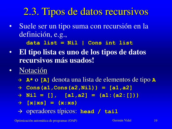 2.3. Tipos de datos recursivos