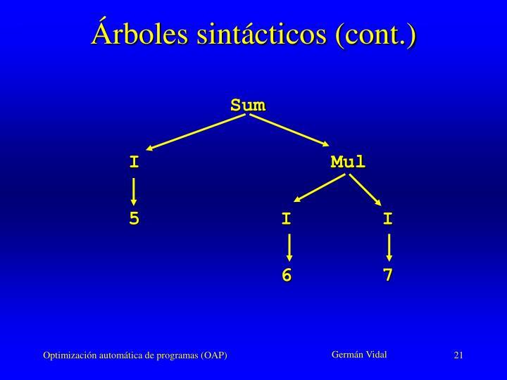 Árboles sintácticos (cont.)