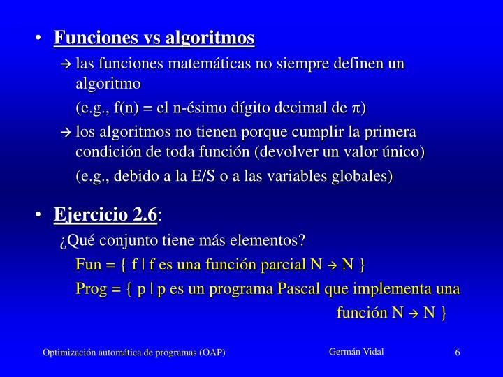 Funciones vs algoritmos