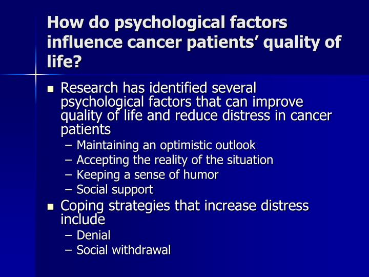 How do psychological factors influence cancer patients' quality of life?