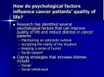 how do psychological factors influence cancer patients quality of life
