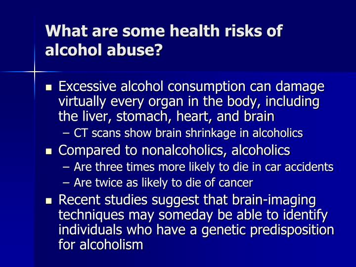 What are some health risks of alcohol abuse?