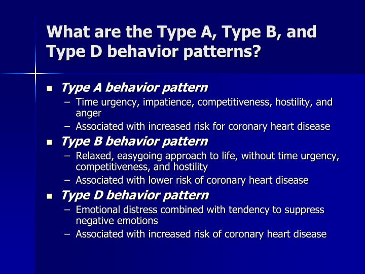 What are the Type A, Type B, and Type D behavior patterns?