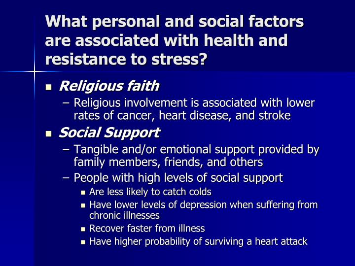 What personal and social factors are associated with health and resistance to stress?