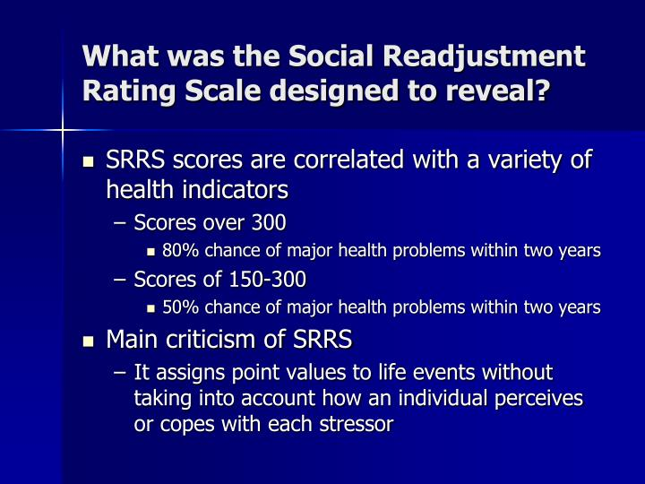 What was the Social Readjustment Rating Scale designed to reveal?