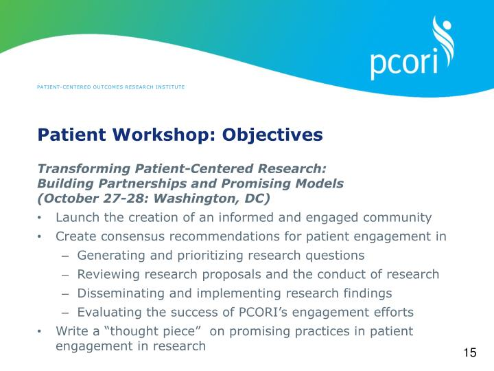 Patient Workshop: Objectives