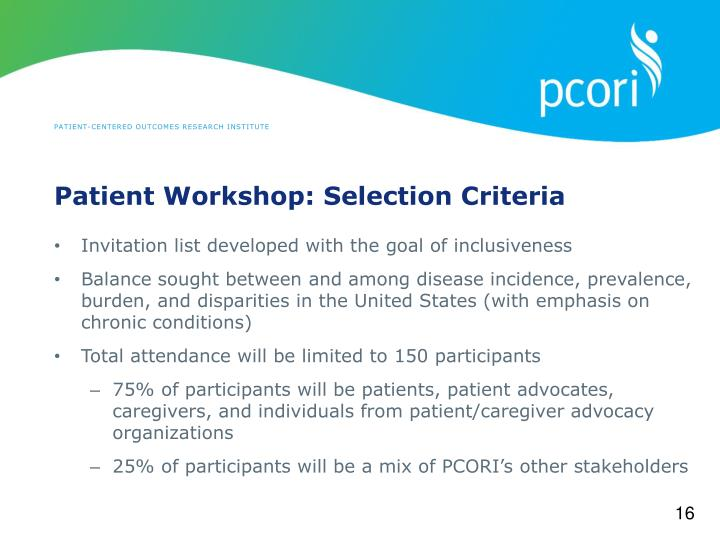 Patient Workshop: Selection Criteria