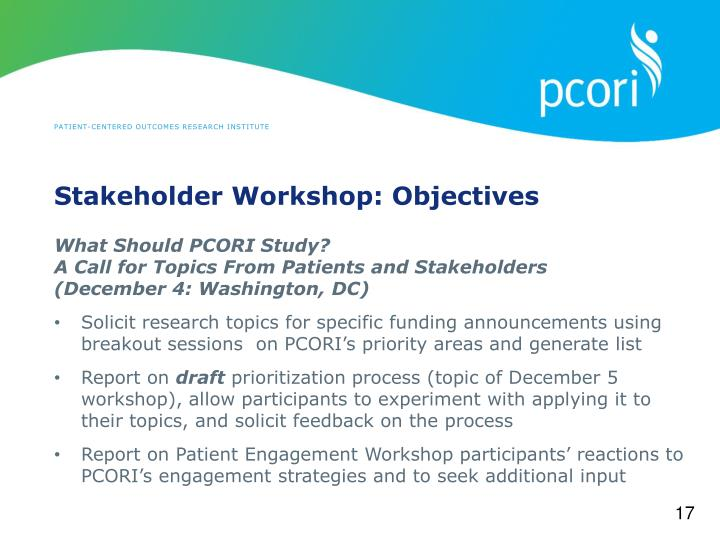 Stakeholder Workshop: Objectives